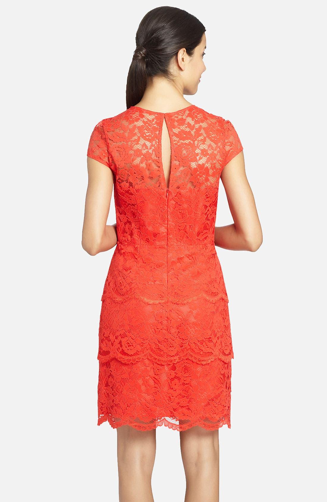 Alternate Image 2  - Cynthia Steffe 'Martine' Illusion Yoke Tiered Lace Dress