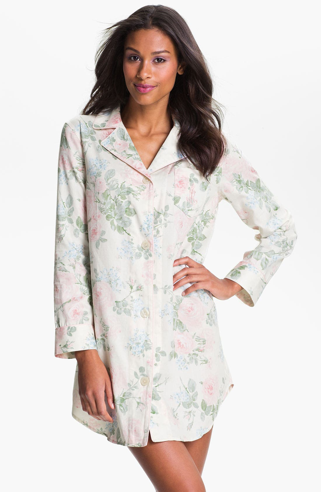 Alternate Image 1 Selected - Lauren Ralph Lauren Sleepwear Floral Print Sleep Shirt