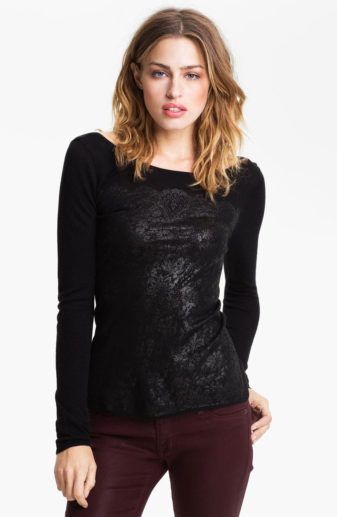 Alternate Image 1 Selected - Hinge Lace Shadow Print Sweater