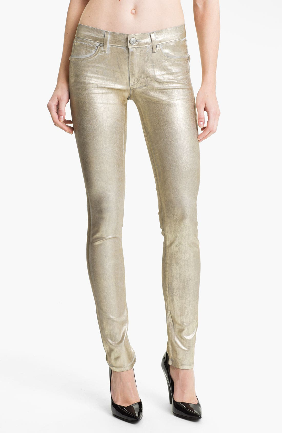 Main Image - Juicy Couture Metallic Coated Skinny Jeans (Gold Saturated Foil)