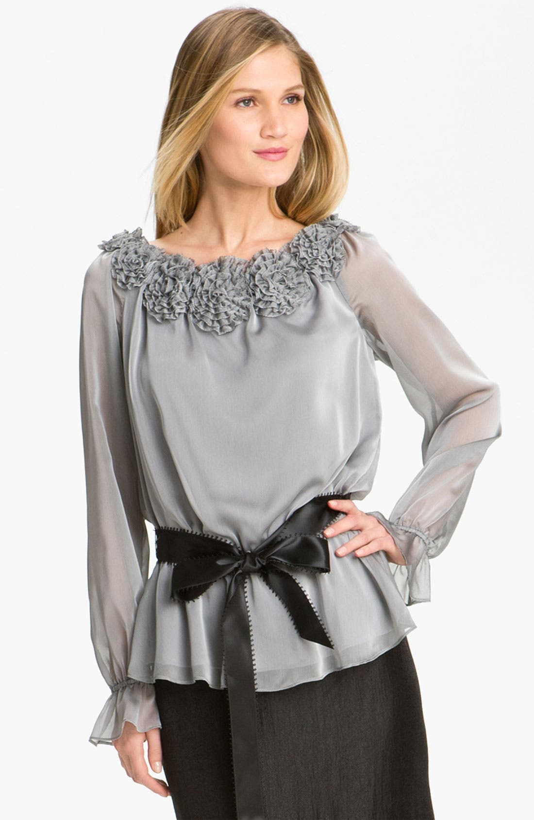 Alternate Image 1 Selected - Adrianna Papell Rosette Trim Chiffon Blouse (Petite)