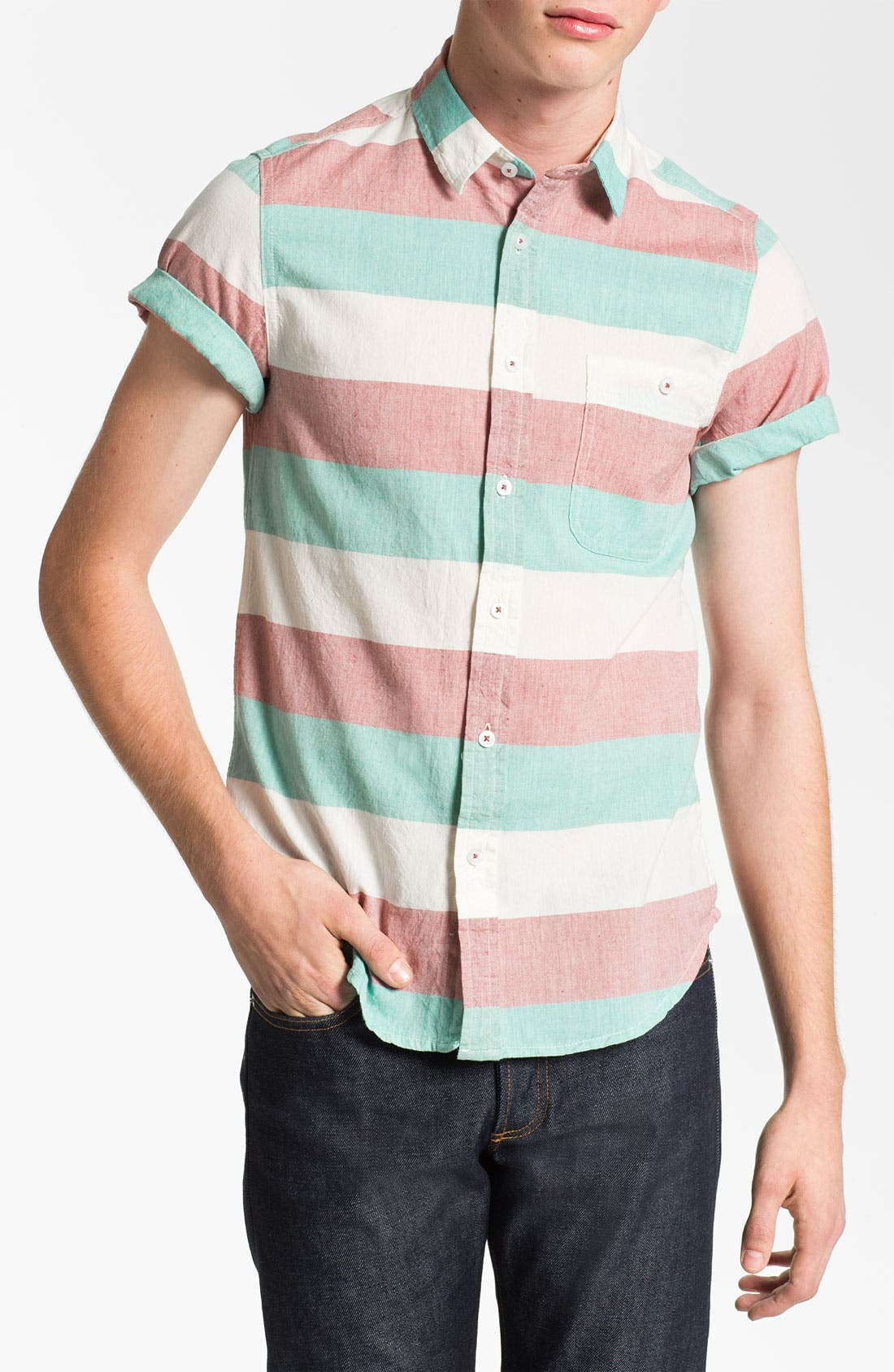 Alternate Image 1 Selected - Topman Stripe Short Sleeve Shirt