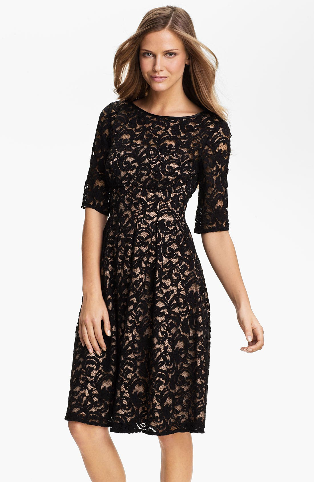 Main Image - Adrianna Papell Lace Overlay Fit & Flare Dress (Regular & Petite)