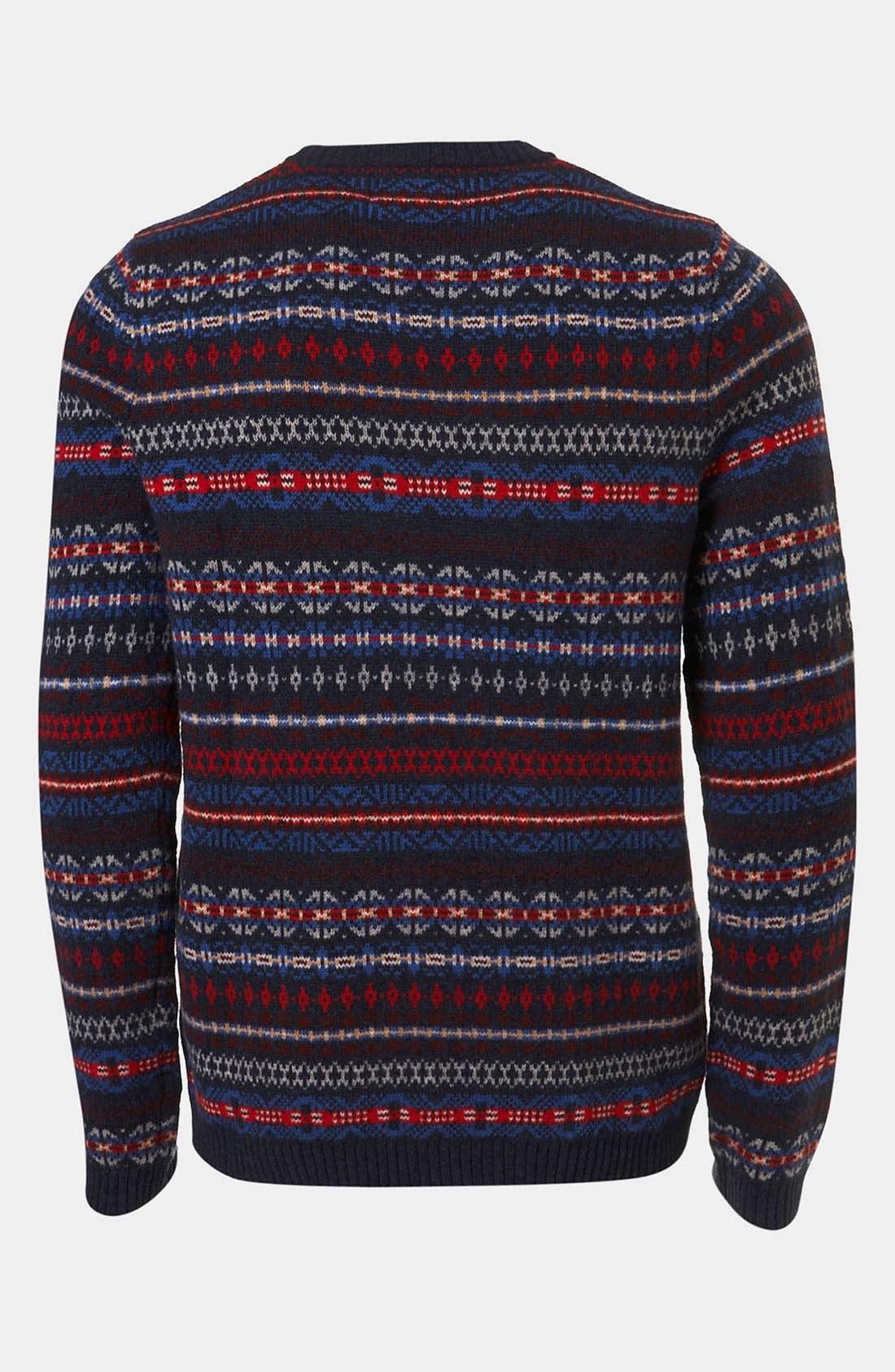 Alternate Image 2  - Topman Fair Isle Crewneck Sweater