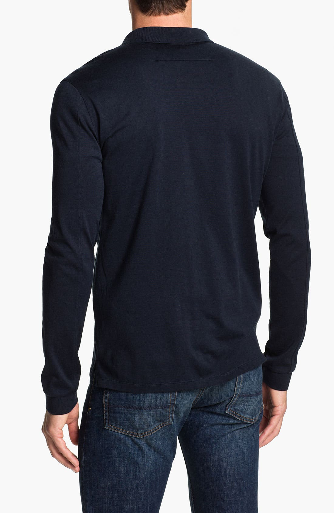 Alternate Image 2  - Vince Long Sleeve Silk & Cotton Polo