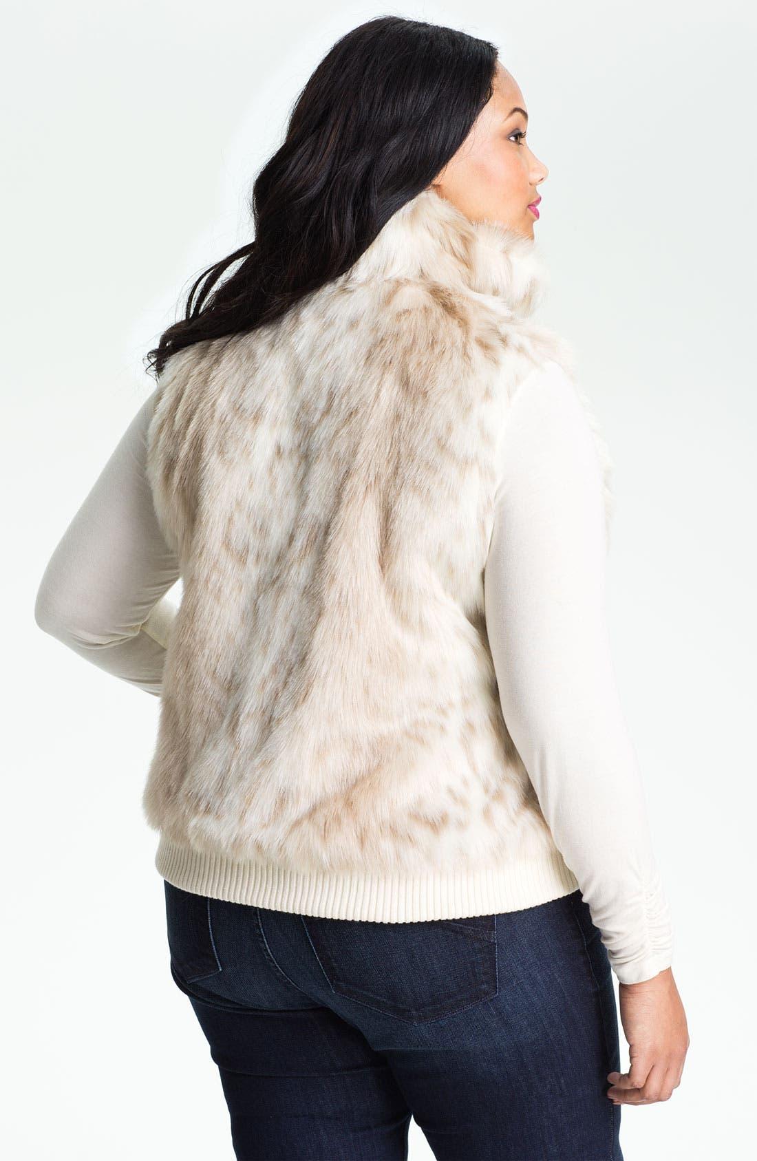 Alternate Image 2  - Ellen Tracy Faux Snow Leopard Fur Vest (Plus)