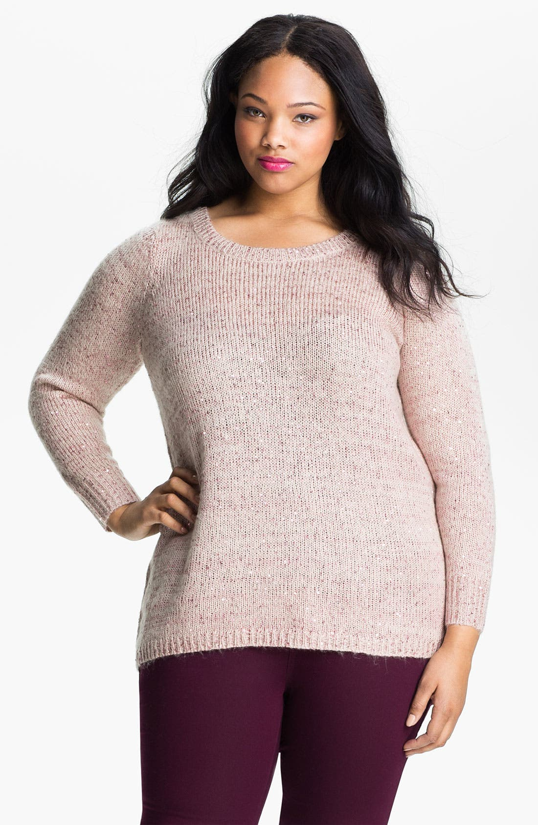 Alternate Image 1 Selected - Evans Sequined Sweater (Plus Size)