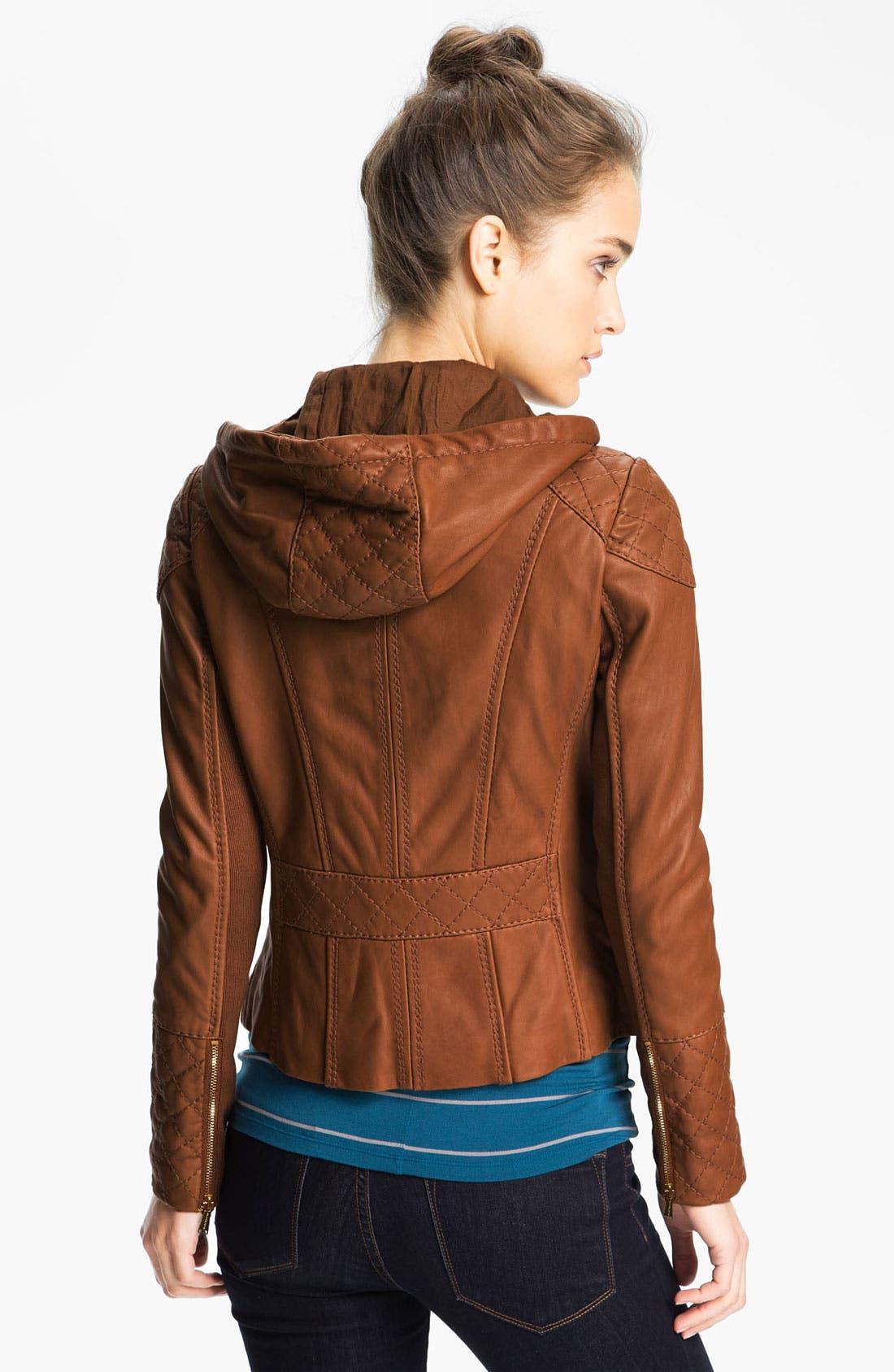 Alternate Image 2  - MICHAEL Michael Kors Hooded Leather Jacket