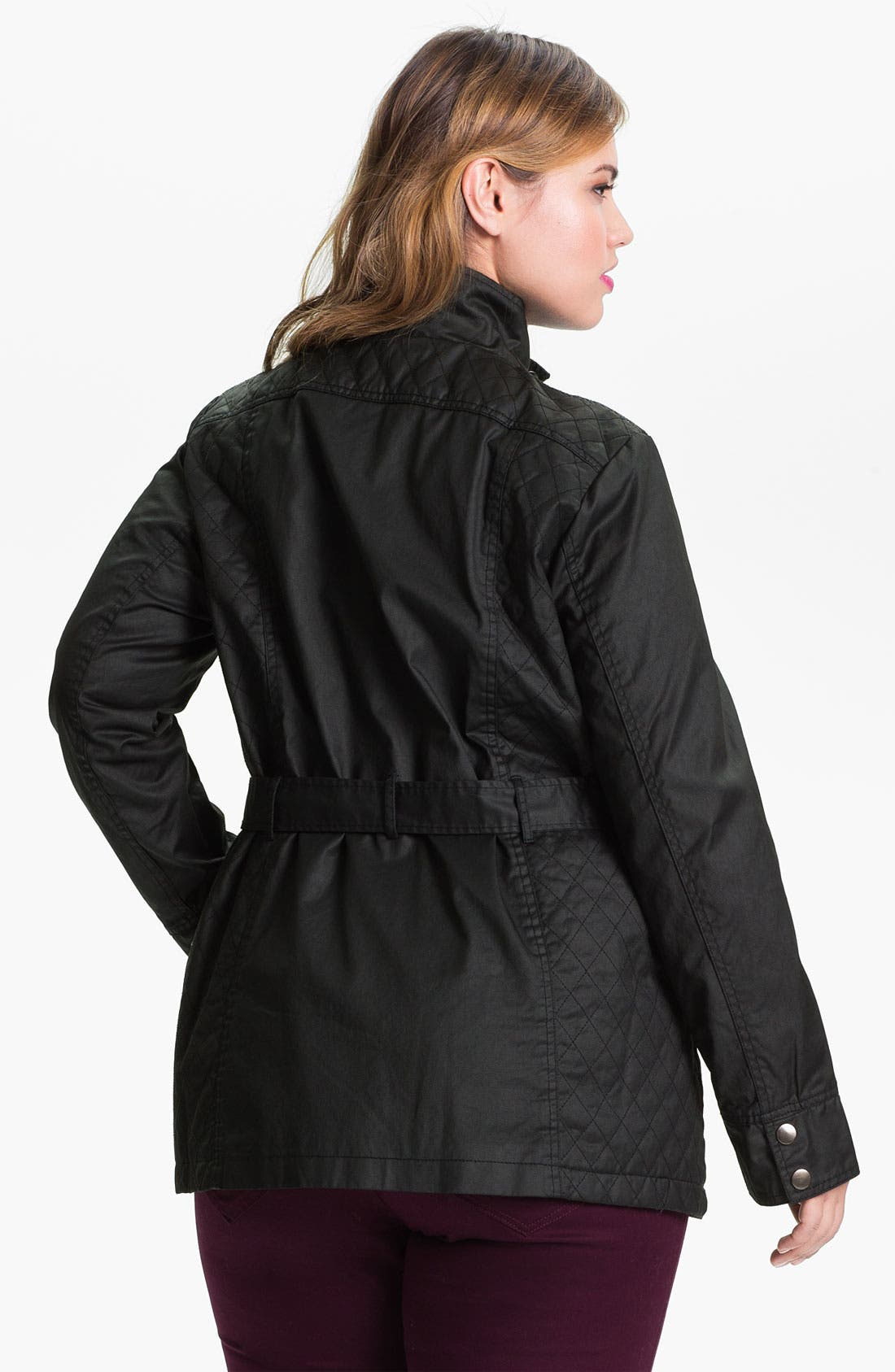Alternate Image 2  - Evans Waxed Cotton Funnel Neck Jacket (Plus Size)