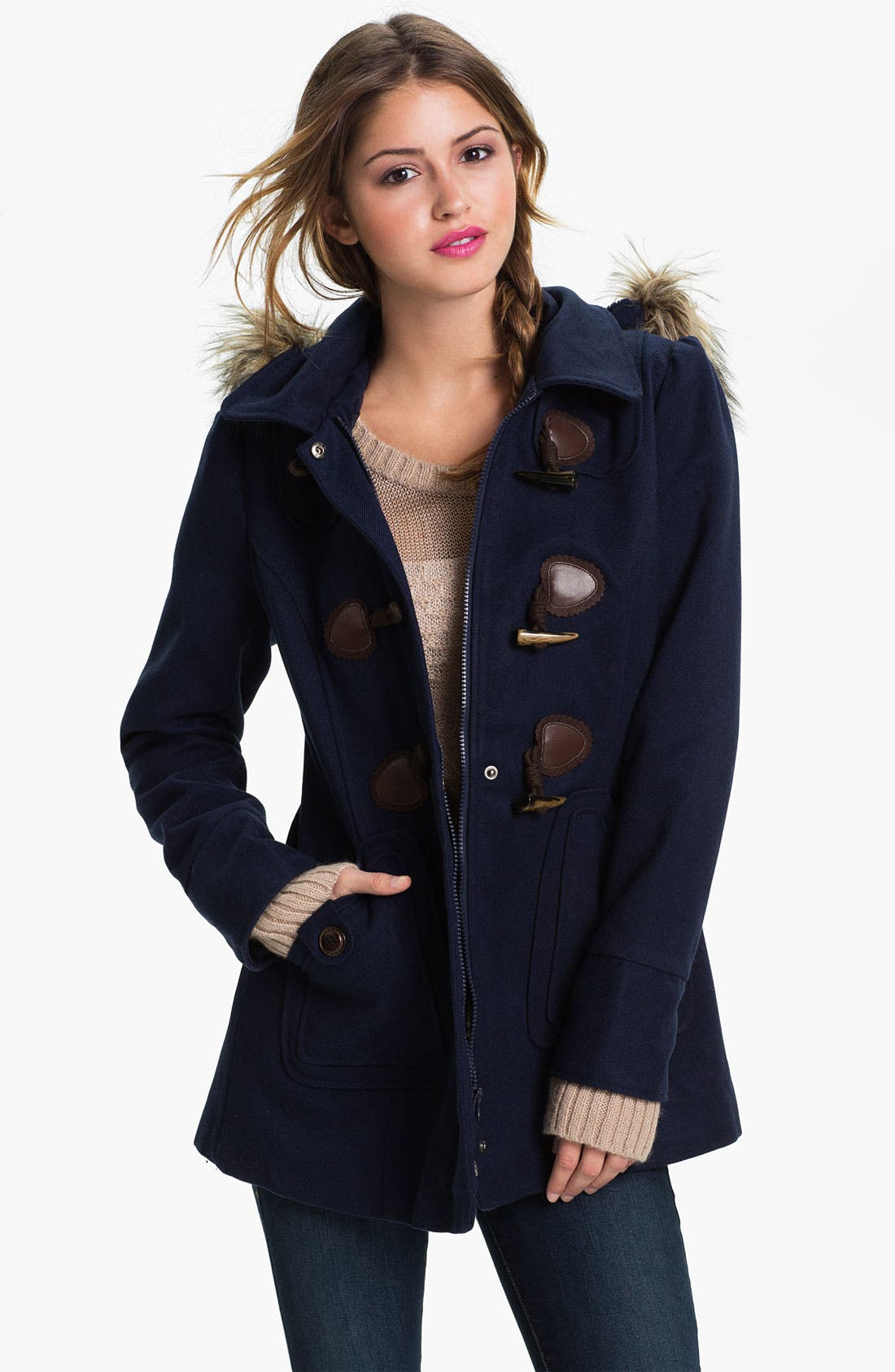 Main Image - Coffee Shop Faux Fur Trim Duffle Coat (Juniors)