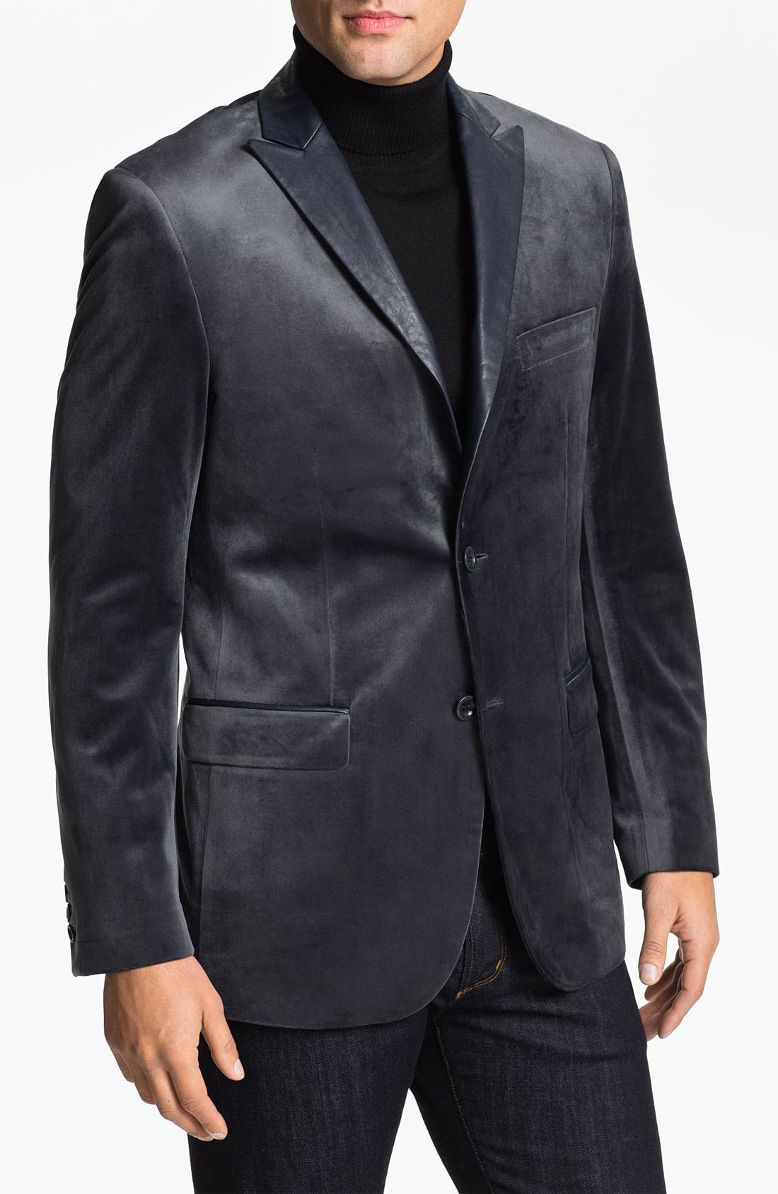Main Image - Natural Blue Velvet Sportcoat (Online Exclusive)
