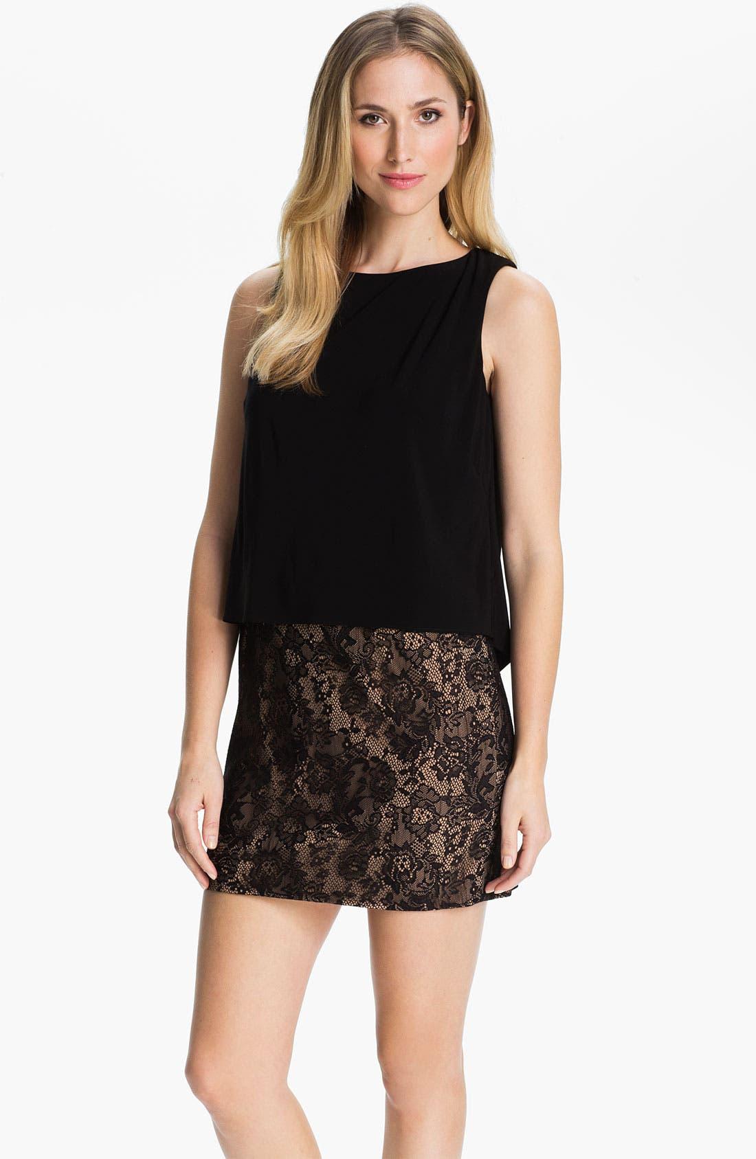 Main Image - Adrianna Papell Drape Back Mixed Media Dress