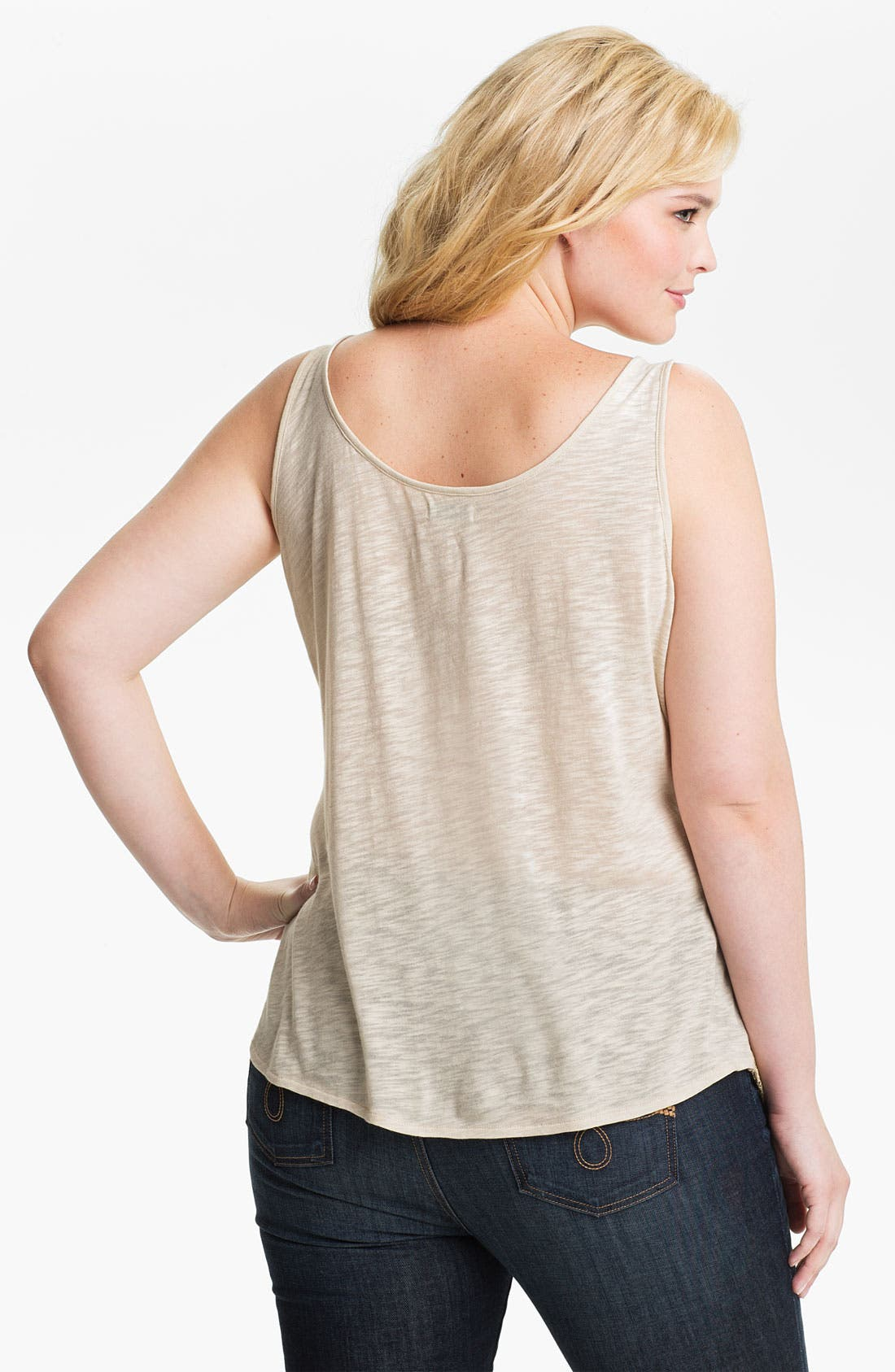 Alternate Image 2  - Lucky Brand 'Gilded' Lace Overlaid Tank (Plus)
