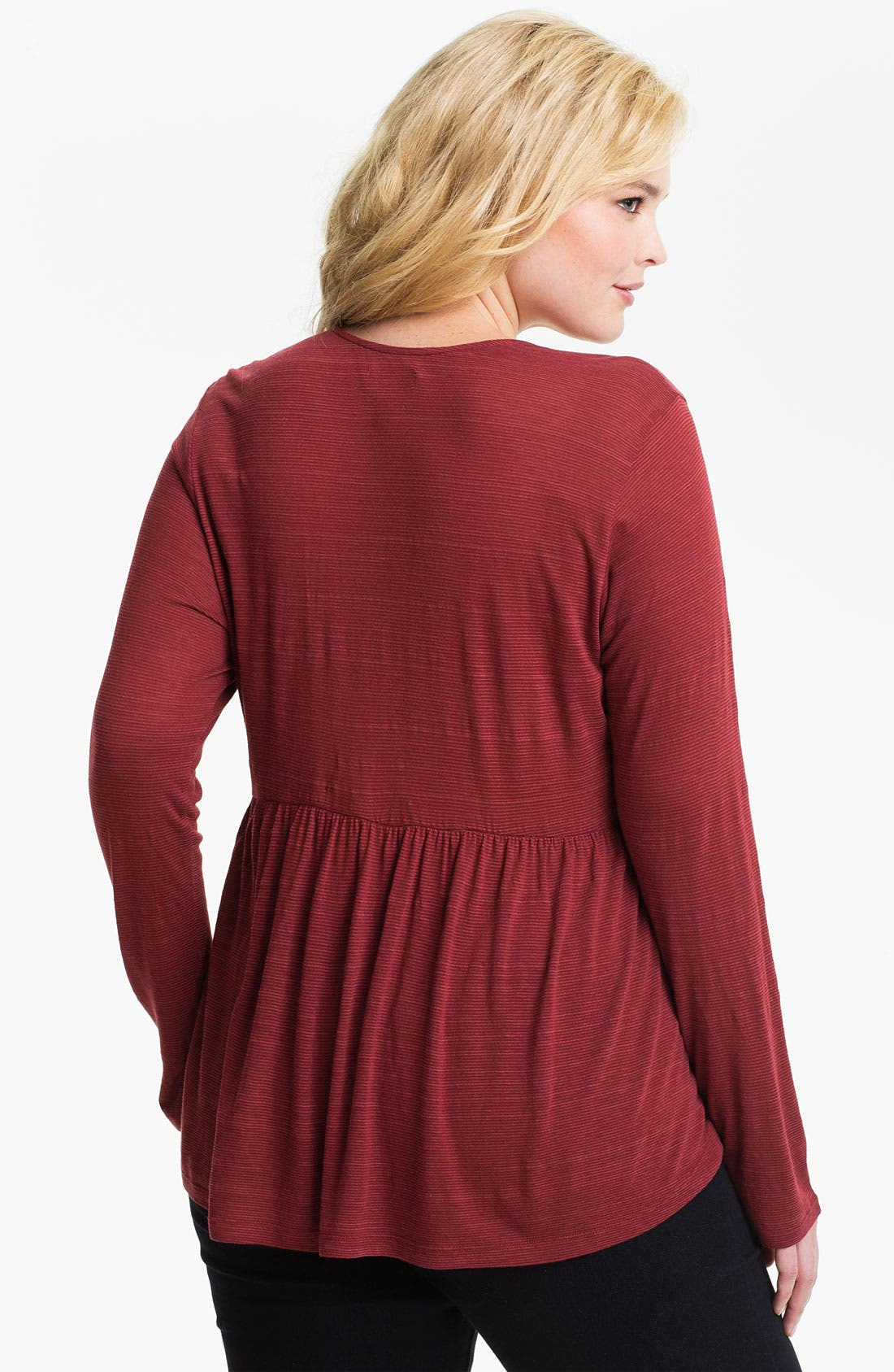 Alternate Image 2  - Lucky Brand 'Tribal' Ruched Peasant Top (Plus)
