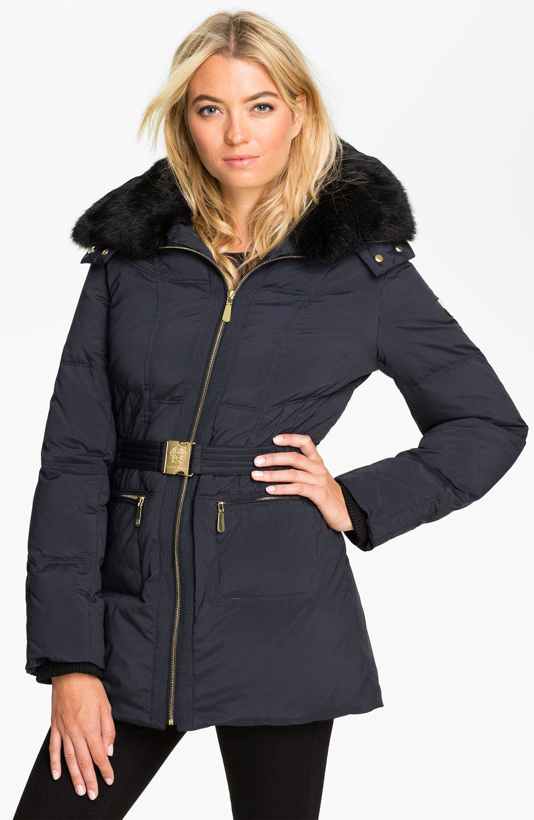 Alternate Image 1 Selected - Vince Camuto Quilted Parka with Genuine Rabbit Fur Collar