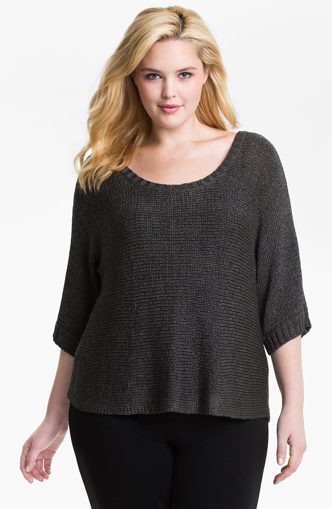 Alternate Image 1 Selected - Eileen Fisher Metallic Open Stitch Sweater (Plus)