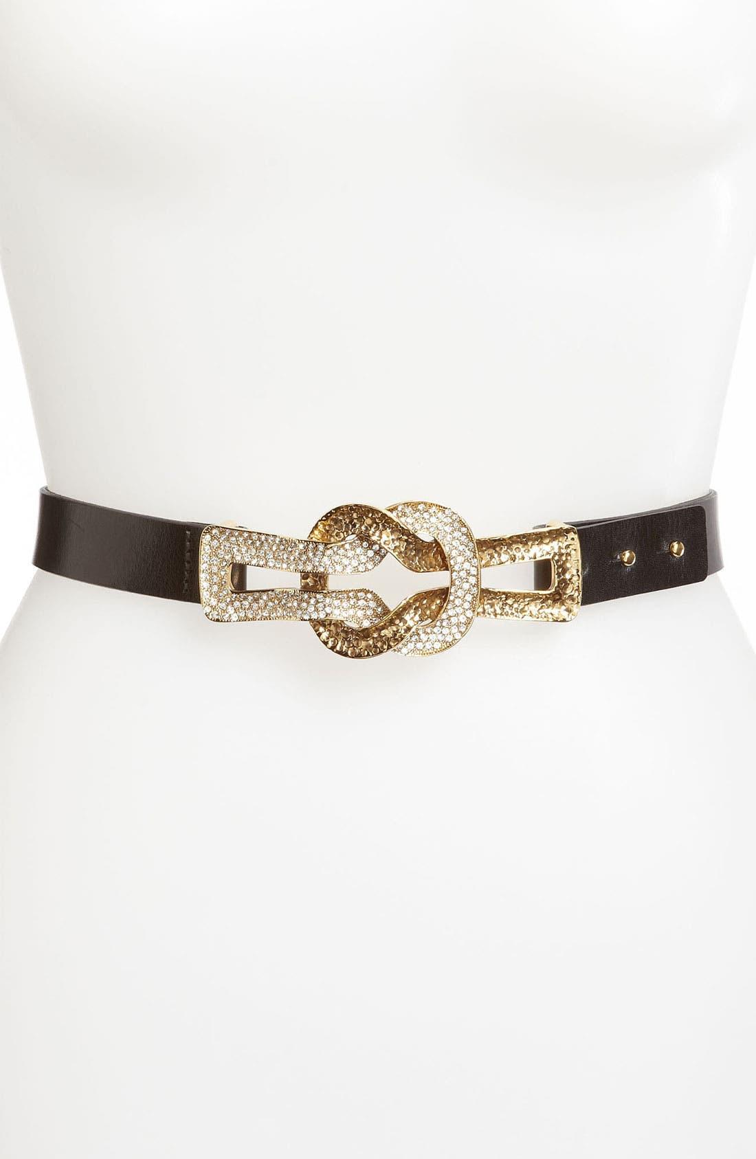 Main Image - St. John Collection Knot Hardware Leather Belt