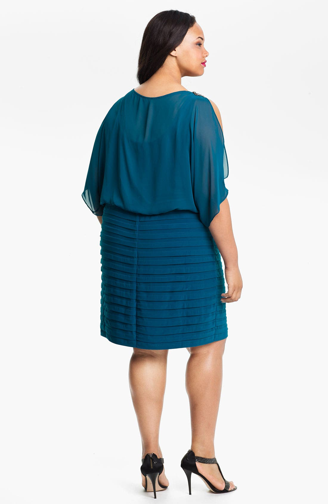Alternate Image 2  - Xscape Beaded Cold Shoulder Dress (Plus Size)