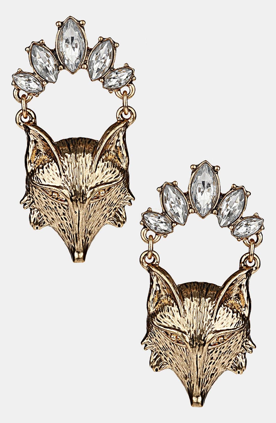 Alternate Image 1 Selected - Topshop Fox Head Drop Earrings