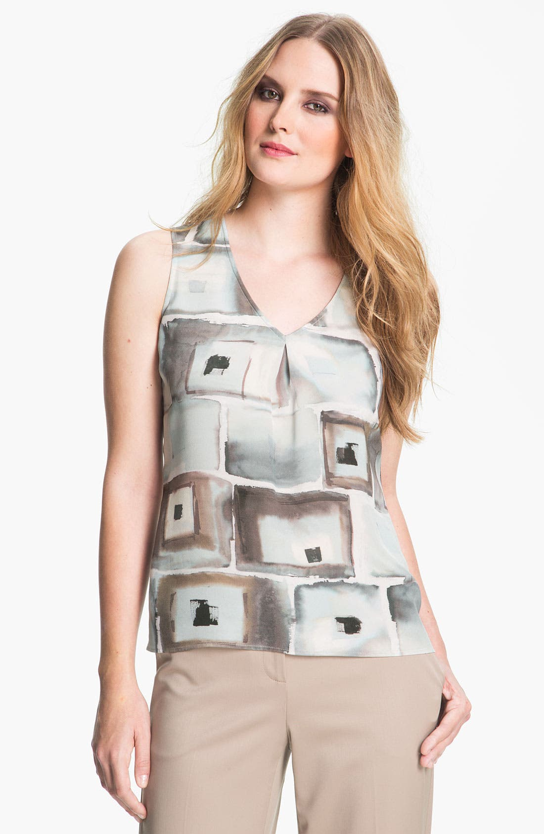 Alternate Image 1 Selected - St. John Collection Geo Print Silk Top