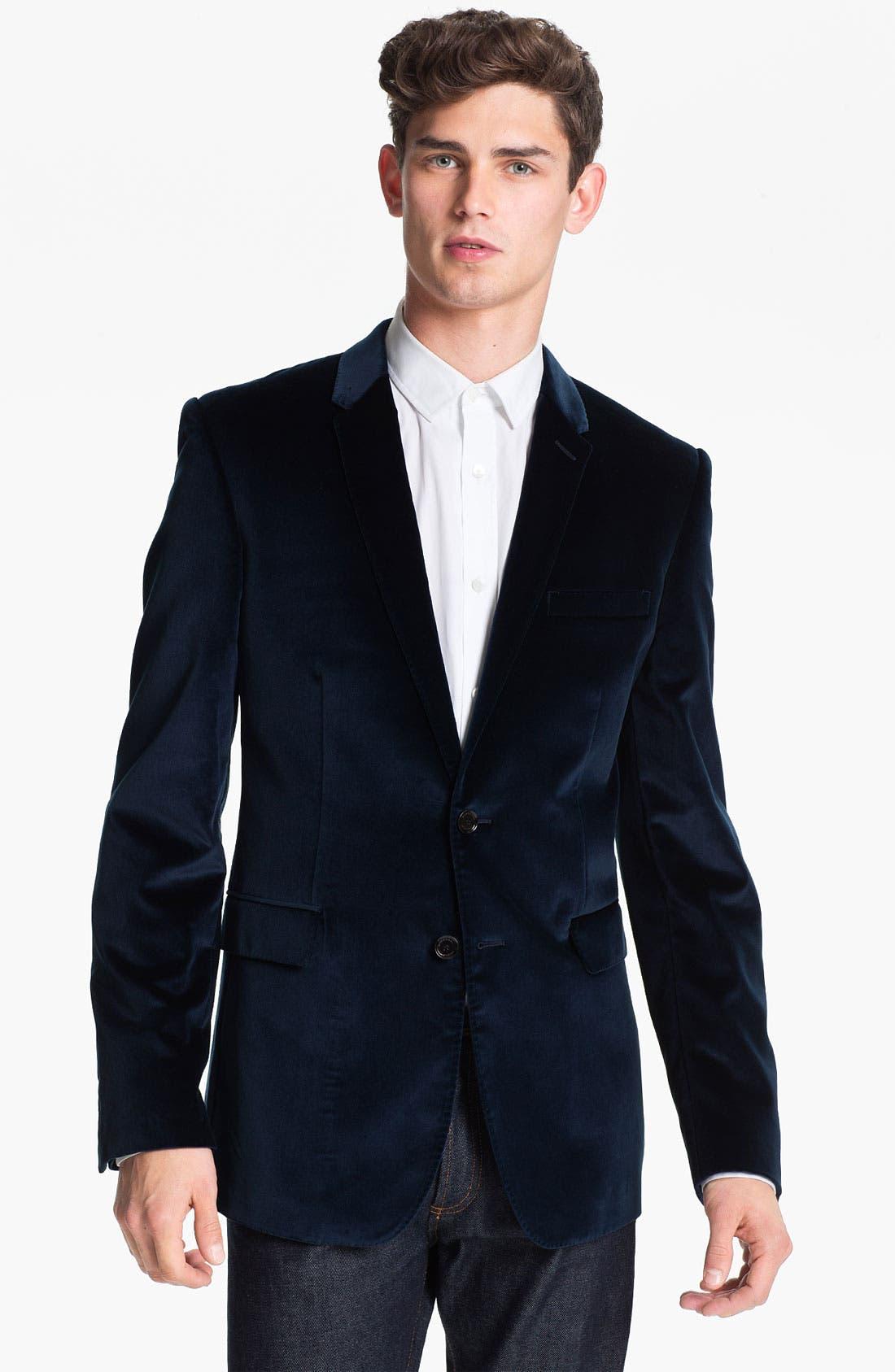 Alternate Image 1 Selected - Burberry London Trim Fit Velvet Blazer