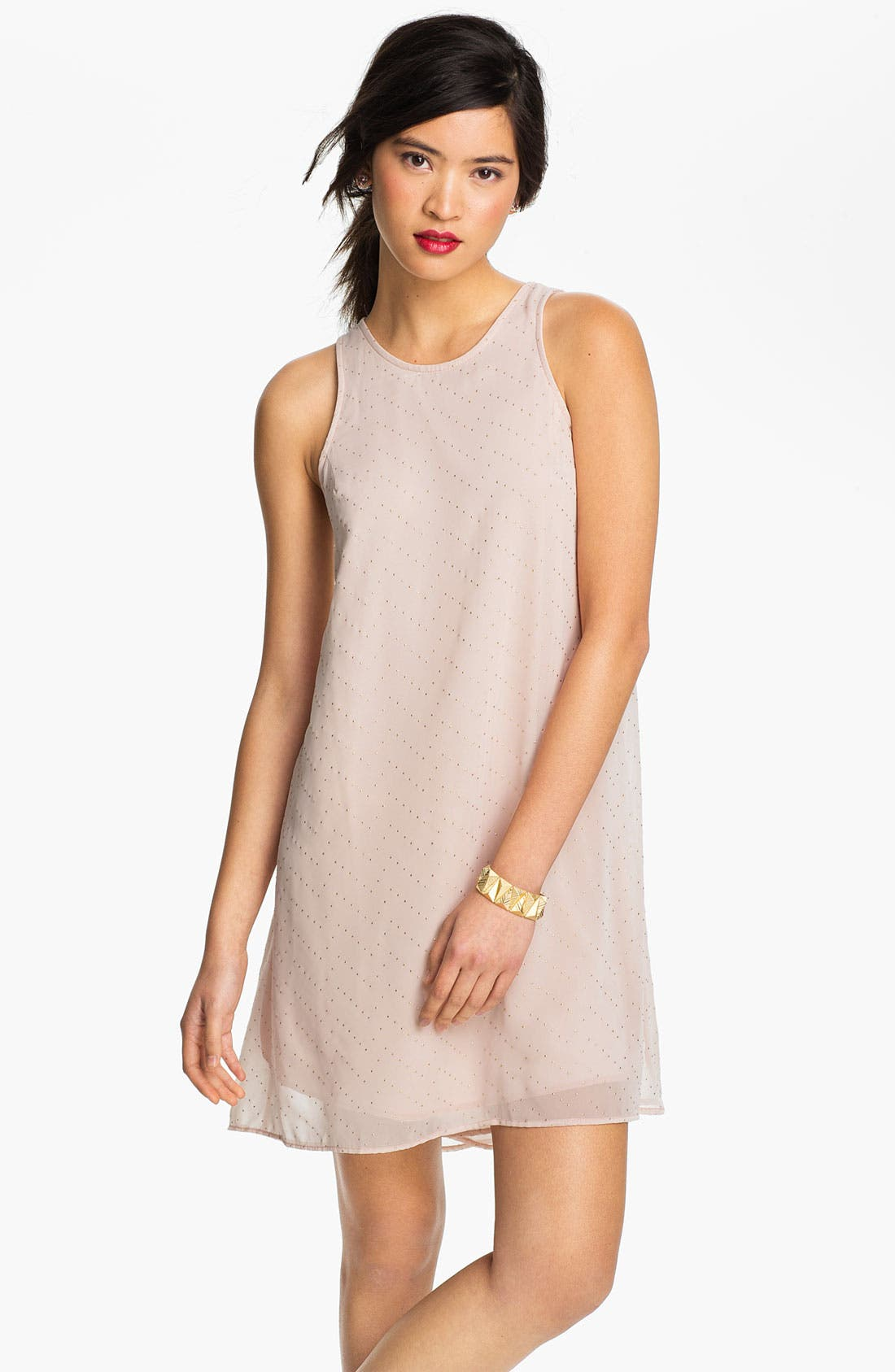 Main Image - Lush Zigzag Stud Chiffon Shift Dress (Juniors)