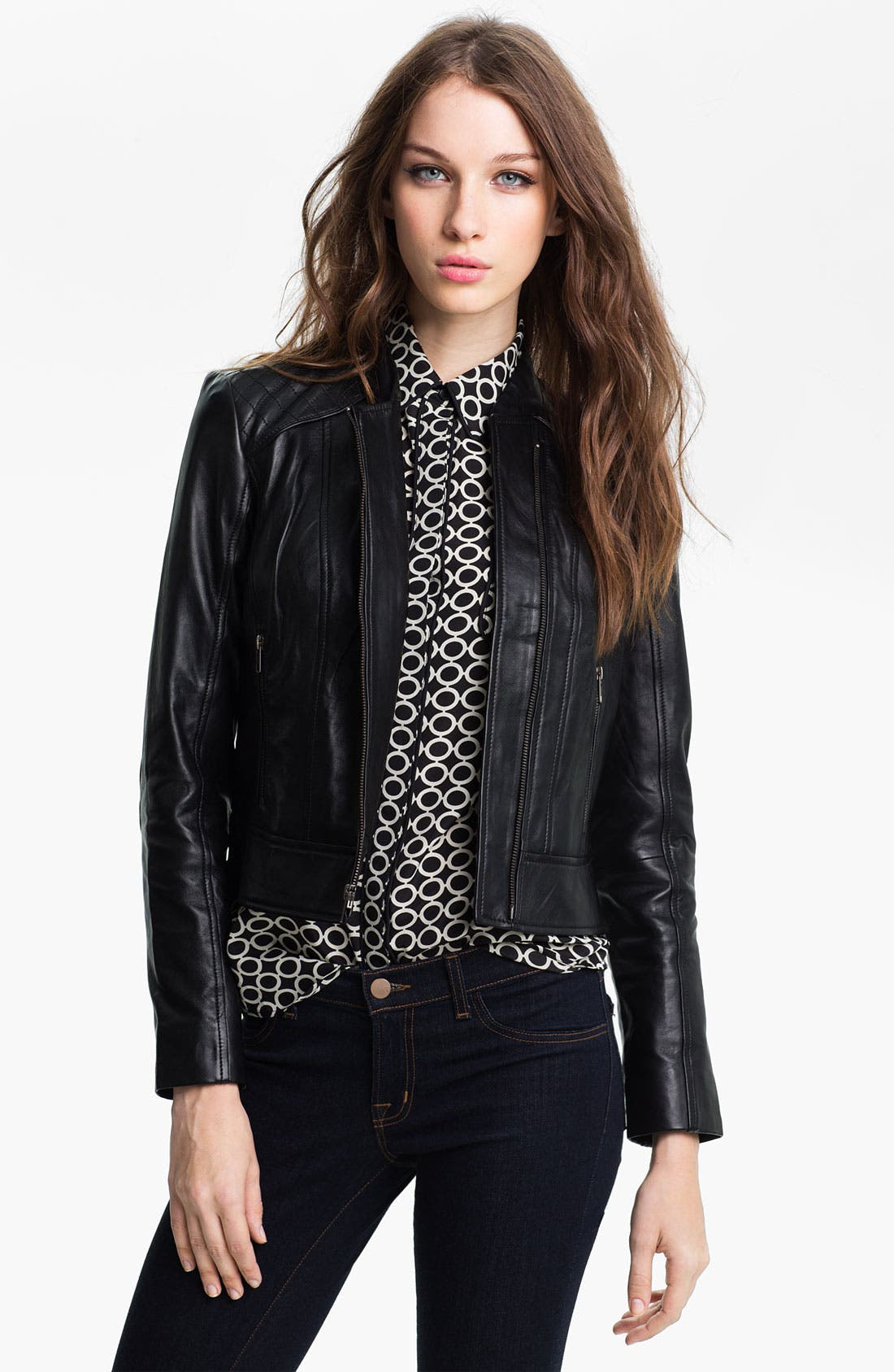 Main Image - Halogen® Quilted Trim Leather Jacket