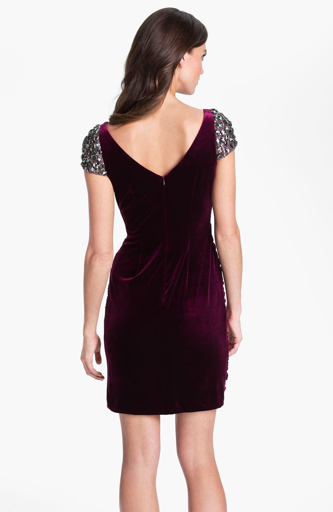Alternate Image 2  - Hailey by Adrianna Papell Embellished Cap Sleeve Velvet Dress