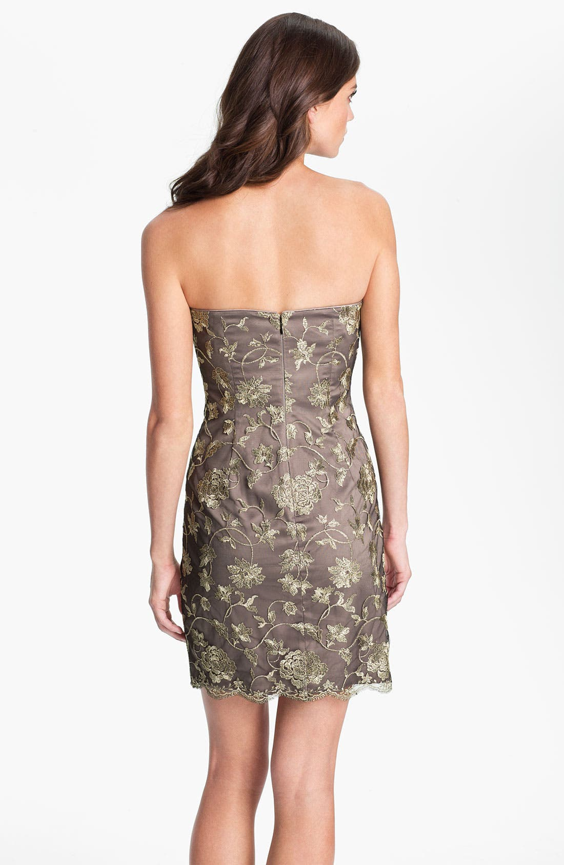 Alternate Image 2  - Adrianna Papell Strapless Mesh Overlay Dress