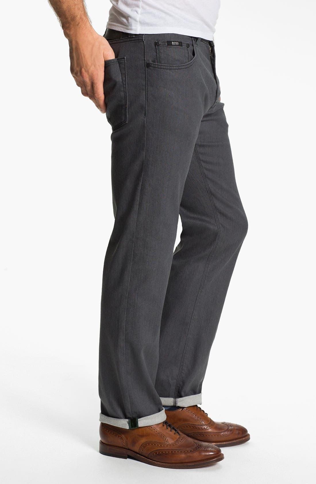 Alternate Image 3  - BOSS Black 'Maine' Straight Leg Jeans (Grey Denim)