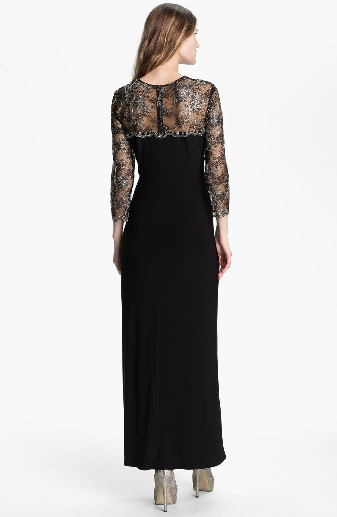 Alternate Image 2  - Alex Evenings Metallic Lace & Jersey Column Gown
