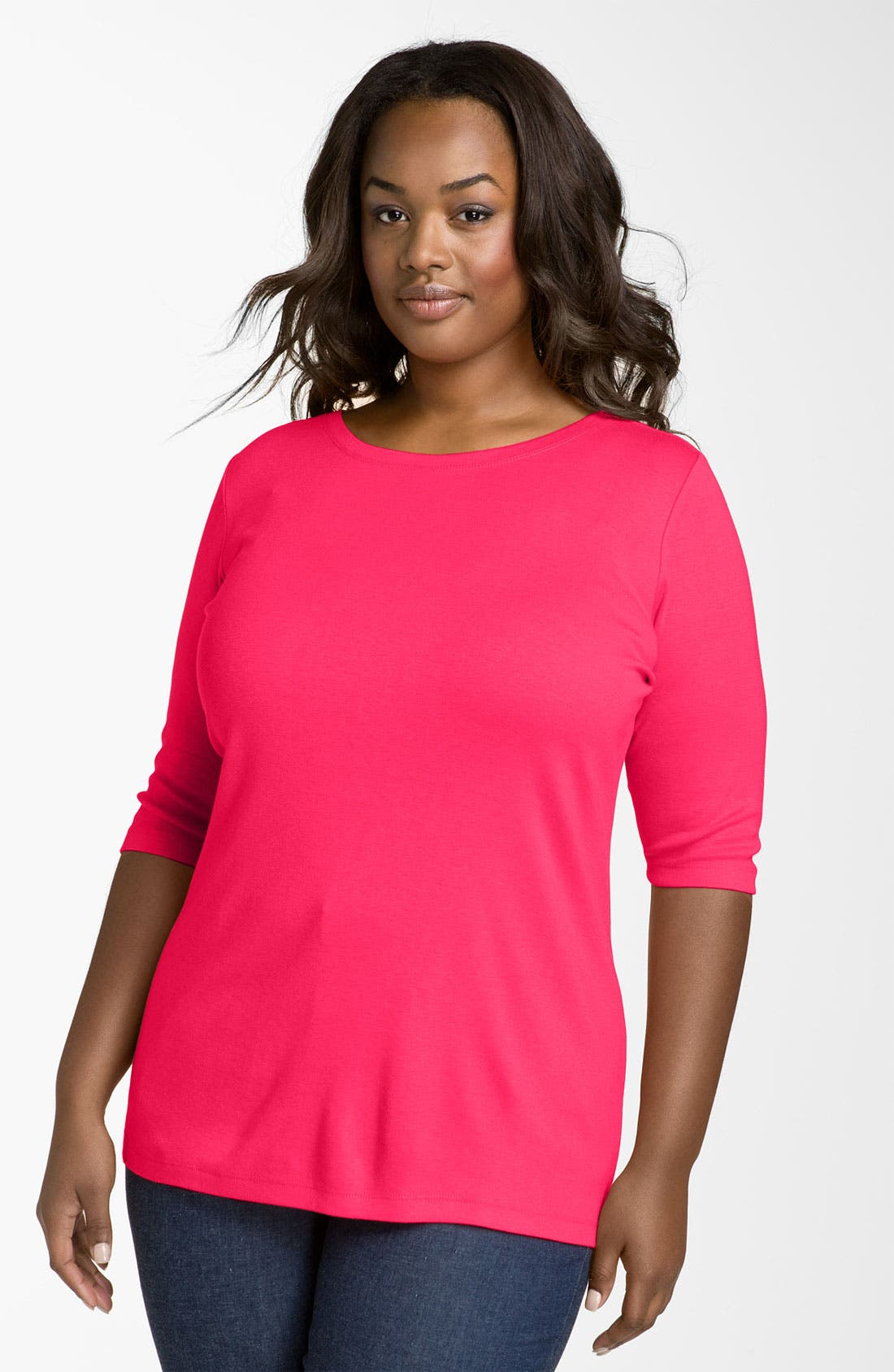 Alternate Image 1 Selected - Sejour Elbow Sleeve Tee (Plus Size)