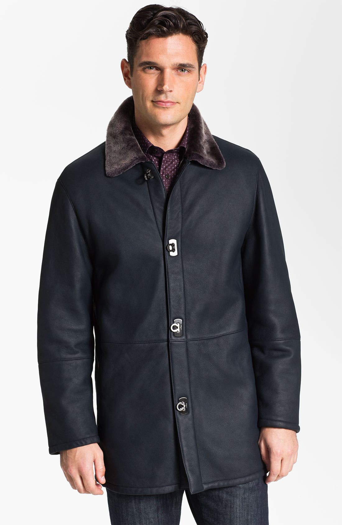 Main Image - Salvatore Ferragamo Genuine Shearling Coat with Gancini Closure