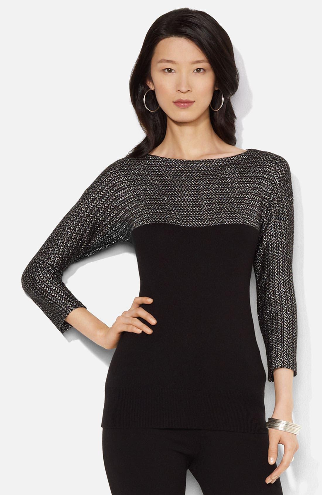 Alternate Image 1 Selected - Lauren Ralph Lauren Metallic Colorblock Sweater
