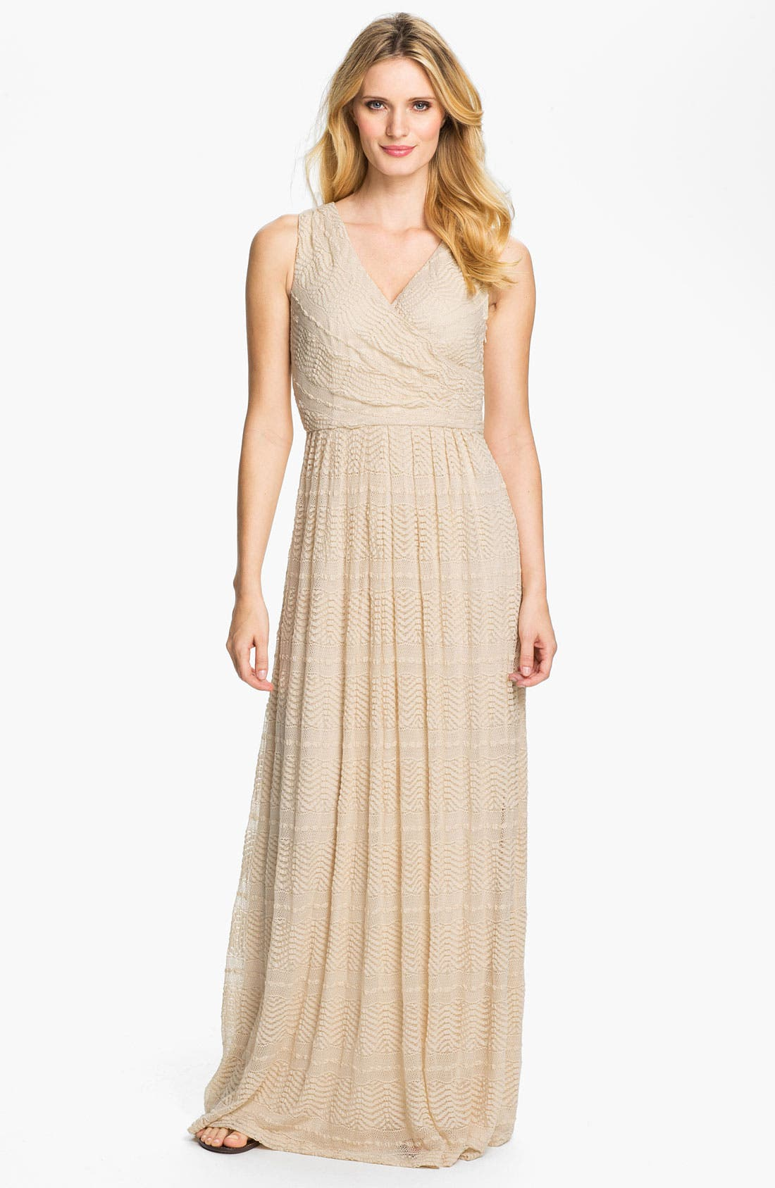 Main Image - Donna Ricco Textured Front Pleat Surplice Maxi Dress