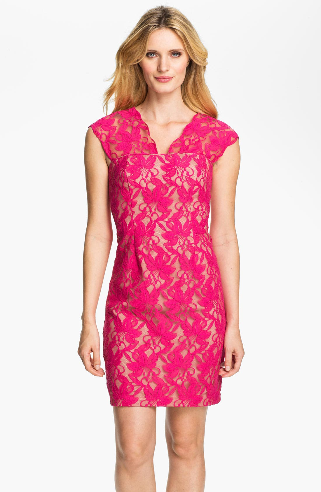 Alternate Image 1 Selected - Donna Ricco Lace Sheath Dress
