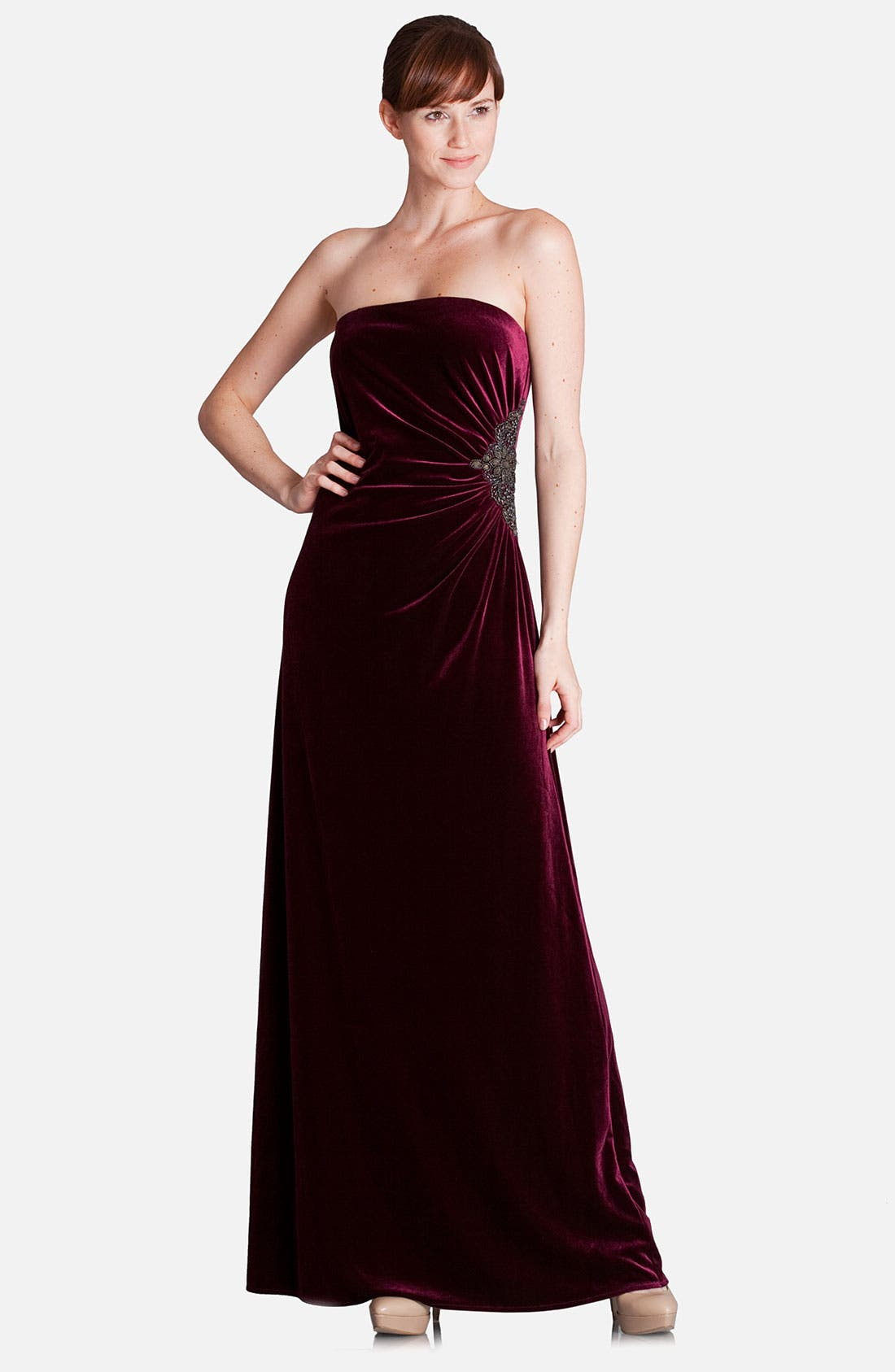 Alternate Image 1 Selected - JS Boutique Strapless Side Accent Velvet Gown