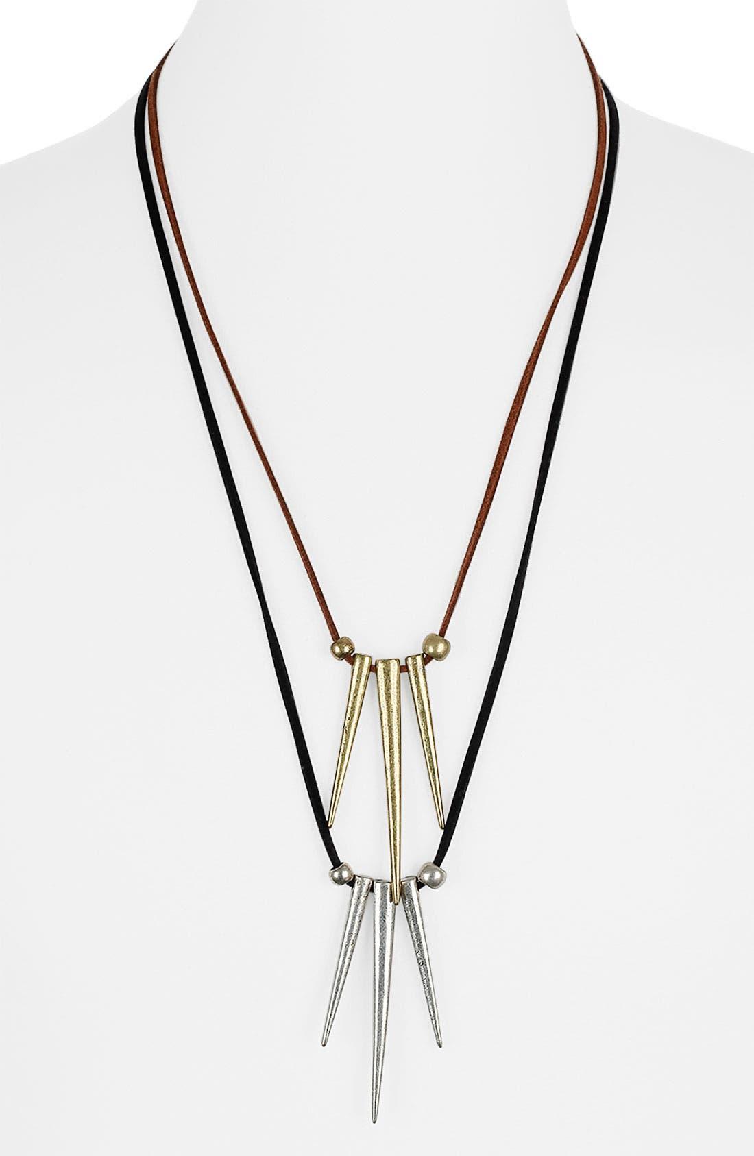 Main Image - Topman Spike Drop Necklace