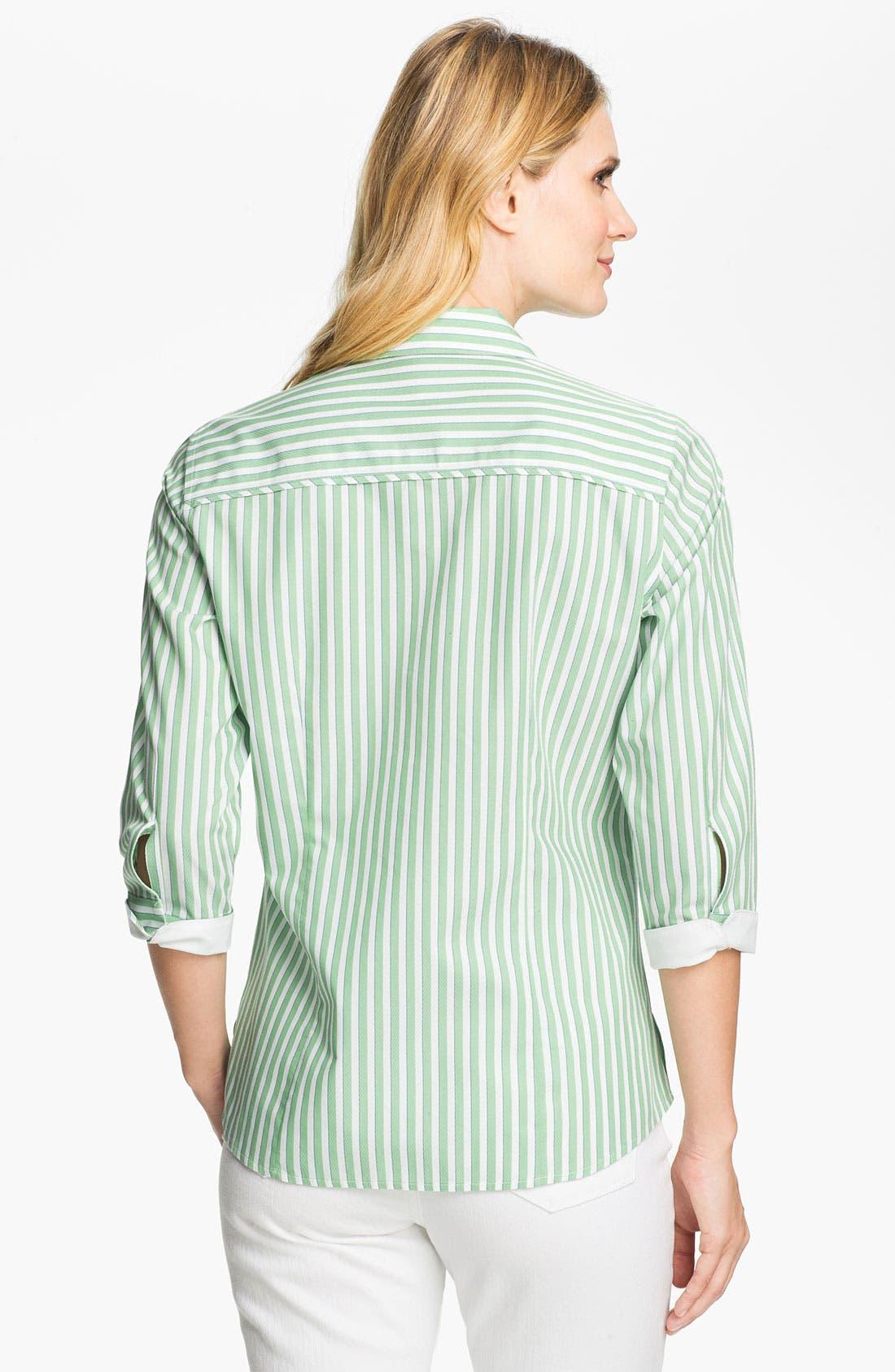 Alternate Image 2  - Foxcroft Three Quarter Sleeve Stripe Shirt