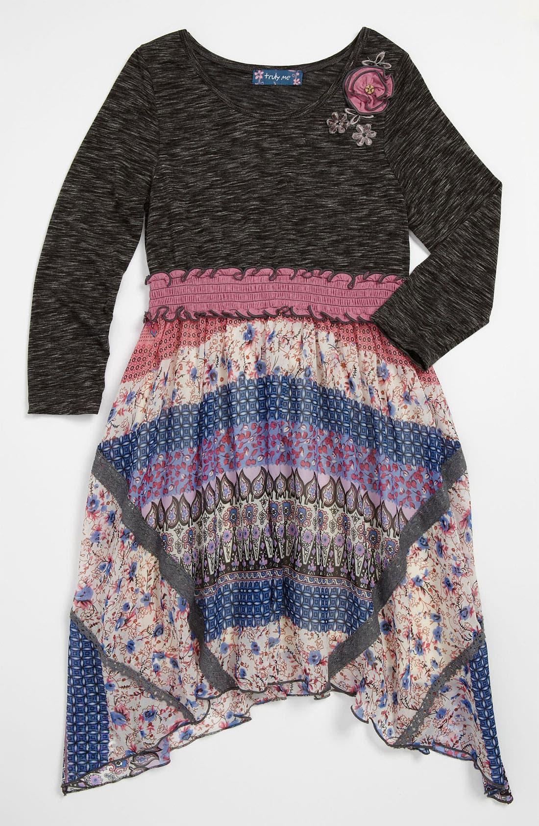 Main Image - Truly Me Knit & Woven Dress (Little Girls & Big Girls)