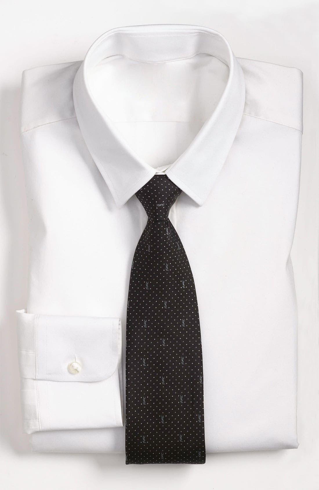 Main Image - Yves Saint Laurent Pin Dot Logo Woven Silk Tie