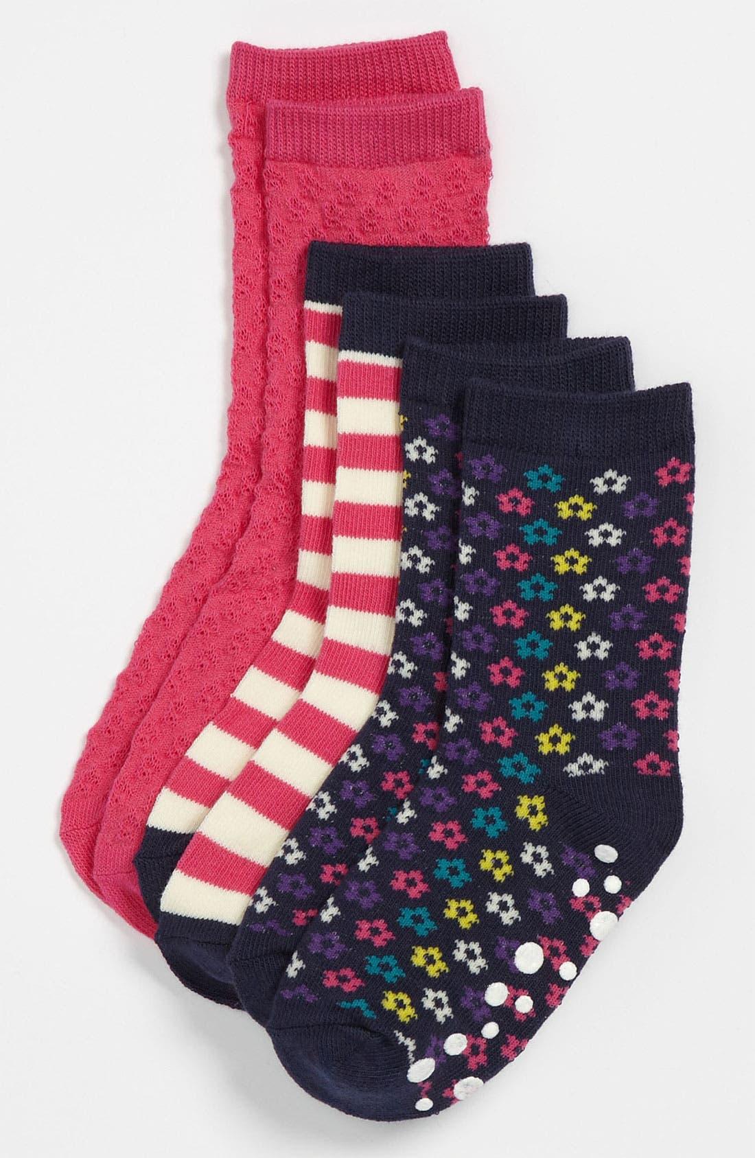 Alternate Image 1 Selected - Nordstrom Printed Crew Socks (3-Pack)(Little Girls)