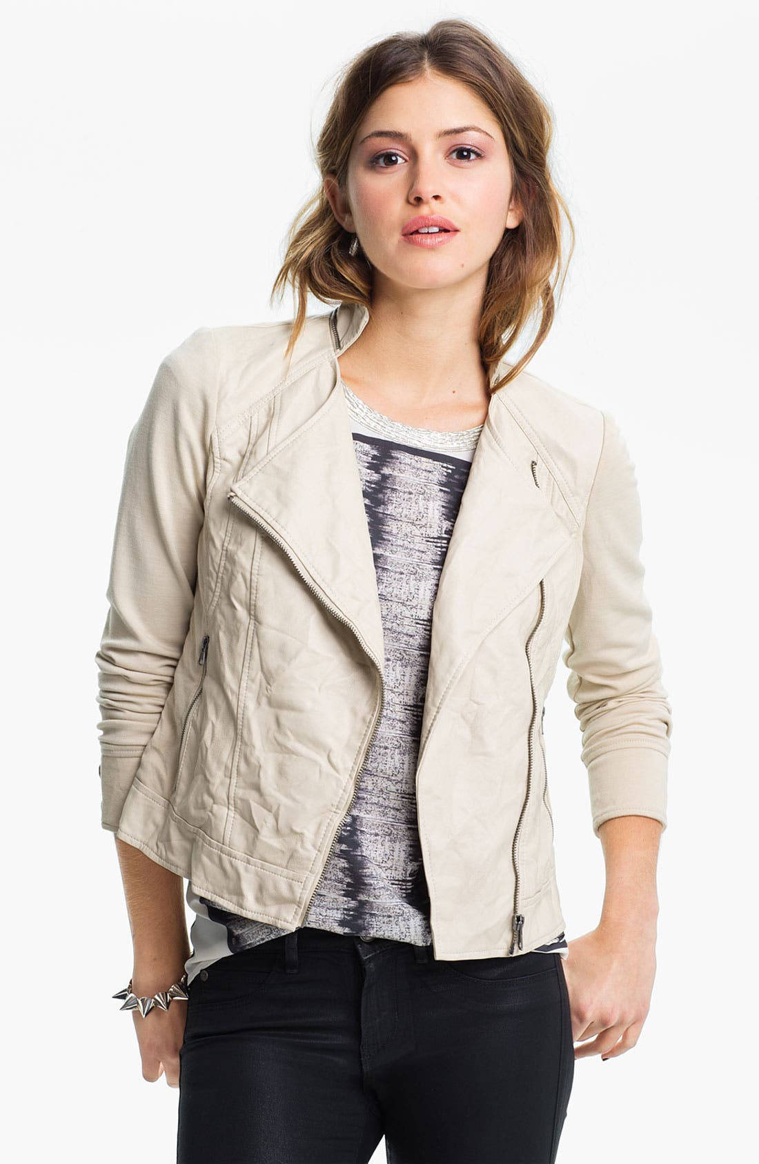 Alternate Image 1 Selected - Collection B Faux Leather & Ponte Moto Jacket (Juniors)