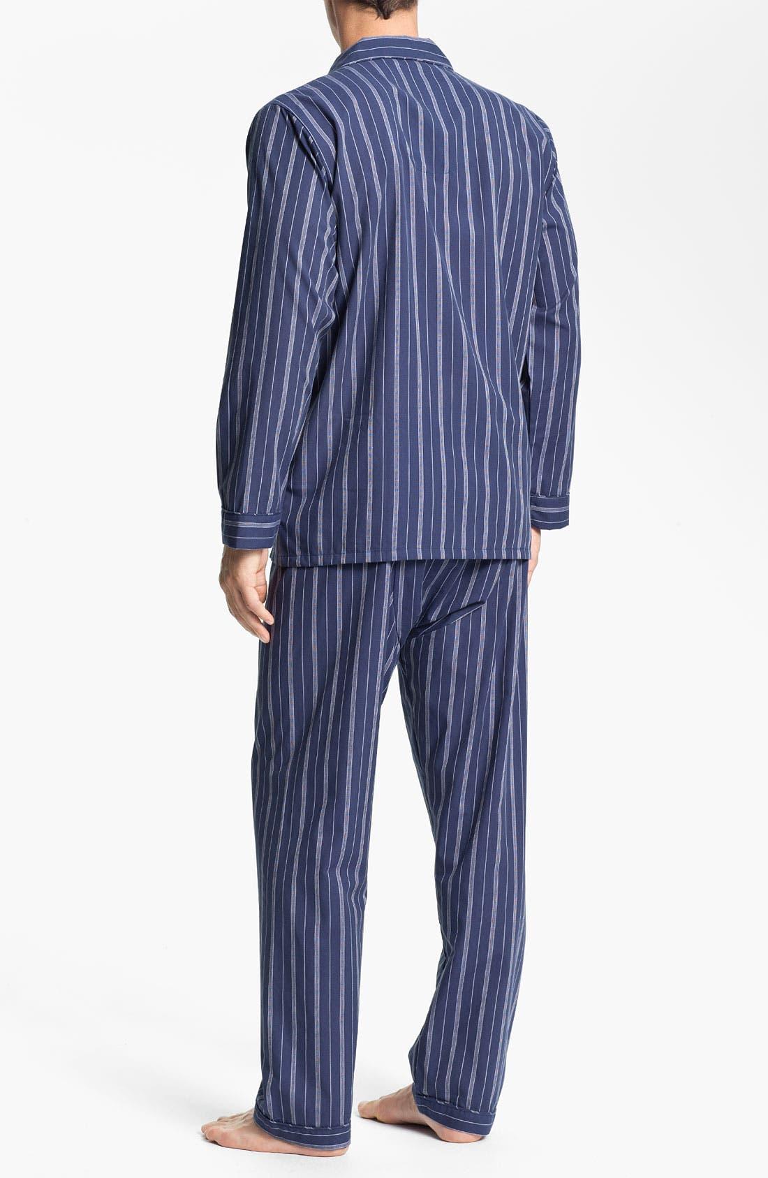 Alternate Image 2  - Majestic International Stripe Easy Care Pajama Set (Big & Tall)