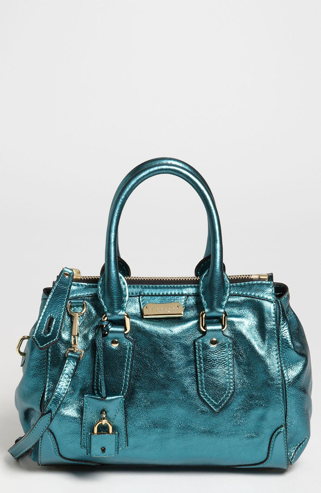 Main Image - Burberry 'Soft Grainy Metallic' Leather Satchel