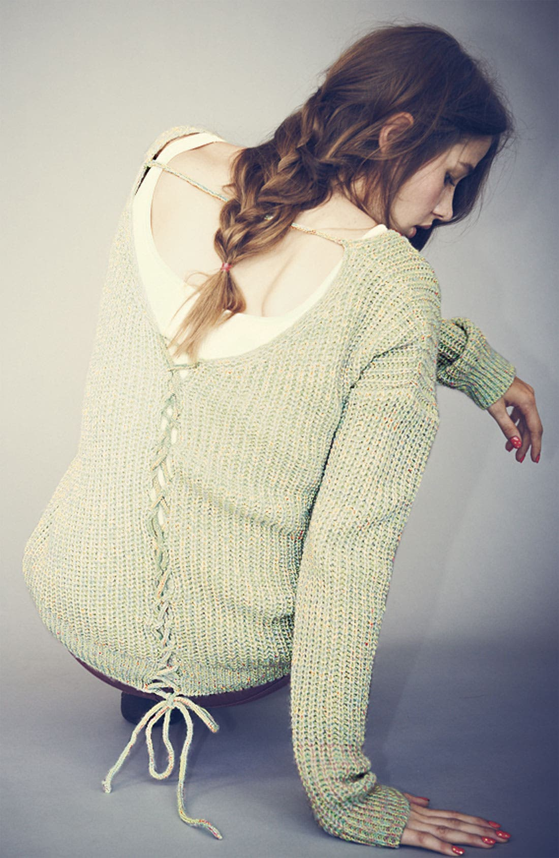 Alternate Image 3  - Love by Design Lace Back Sweater (Juniors)
