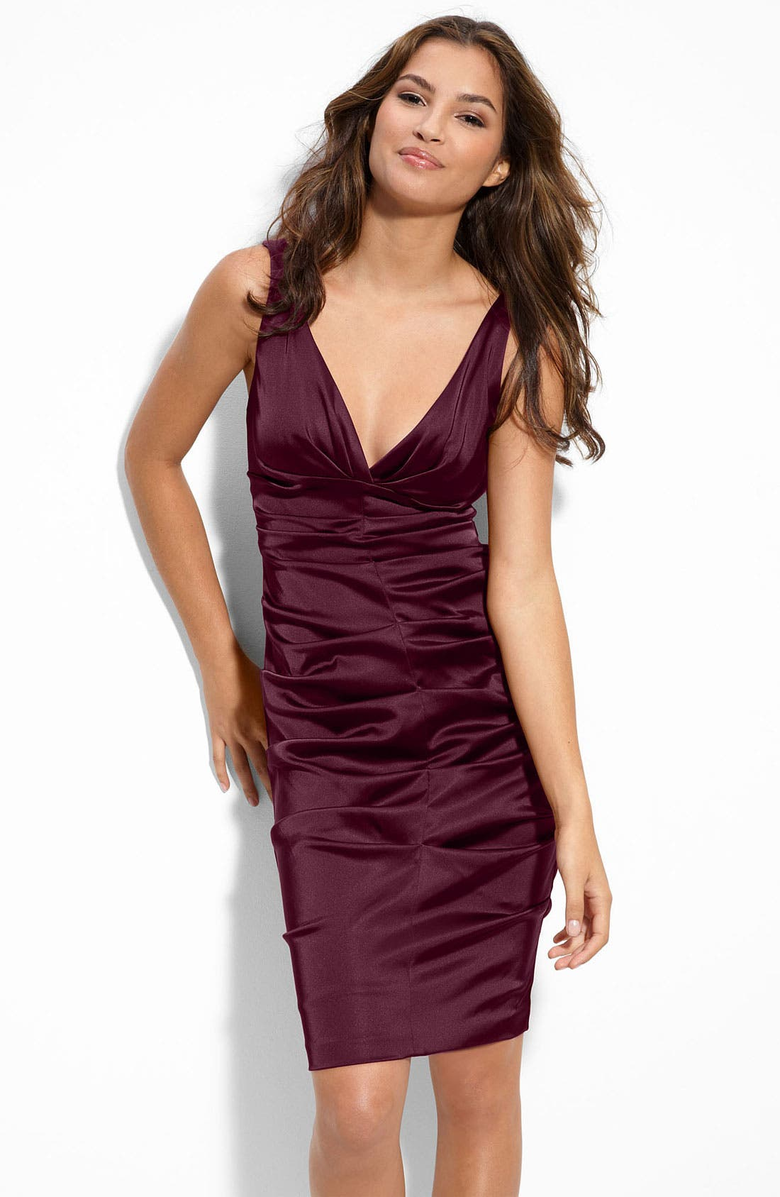 Main Image - Xscape Ruched Stretch Satin Sheath Dress