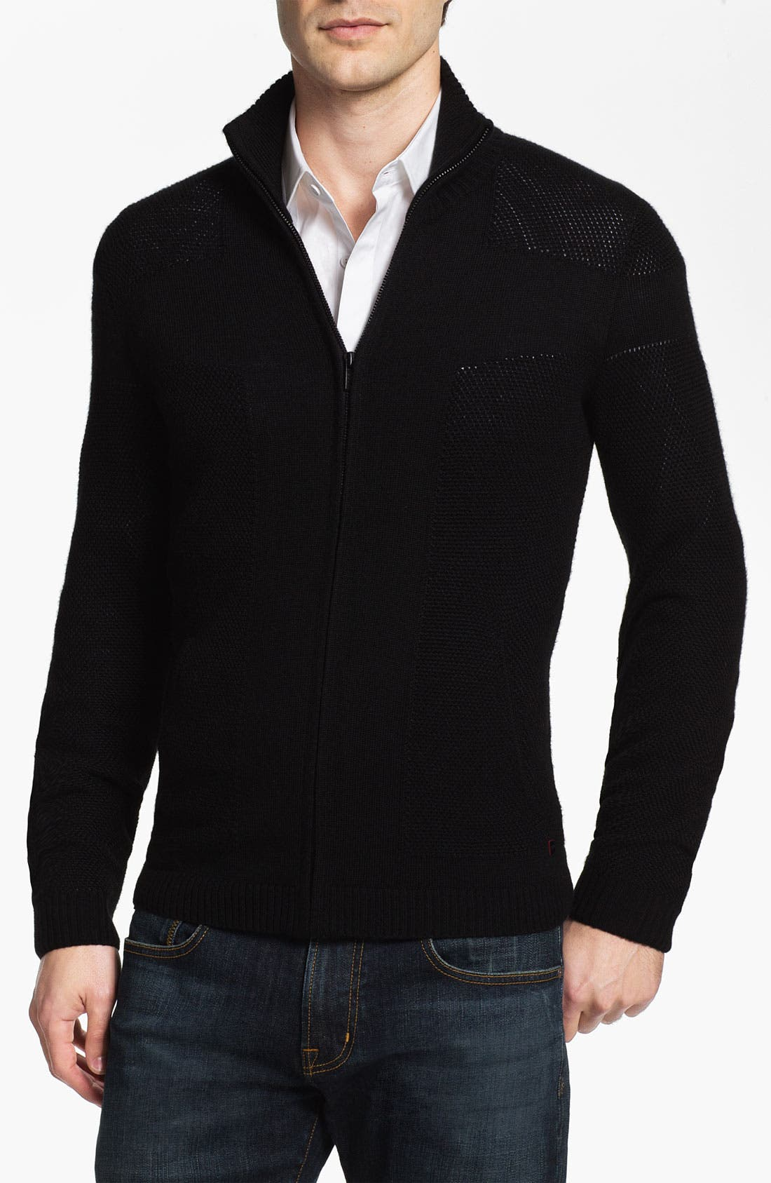 Main Image - HUGO 'Singapur' Wool Blend Zip Cardigan