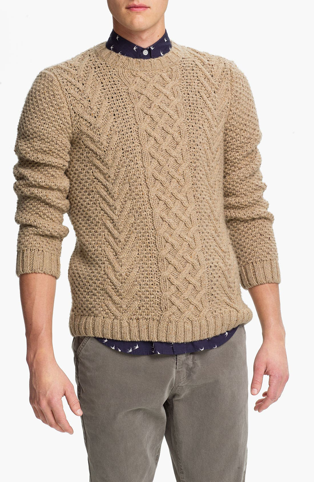 Main Image - Topman Chunky Cable Knit Crewneck Sweater