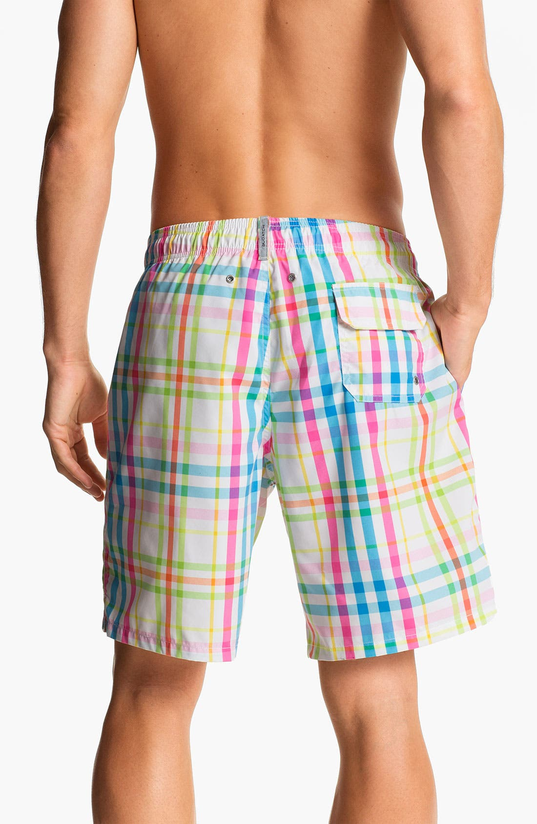 Alternate Image 2  - Bugatchi Uomo Plaid Board Shorts